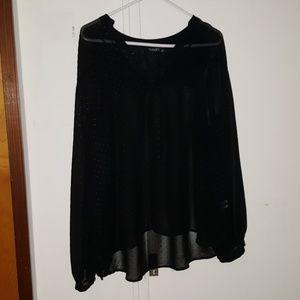 3/$10! Black long sleeve sheer blouse (1X)